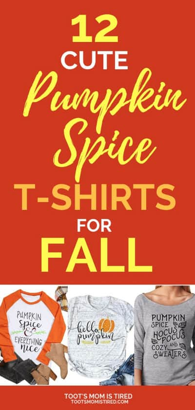 12 Pumpkin Spice T-Shirts for Fall | Pumpkin spice latte life, fall fashion for coffee lovers, pumpkin everything style, momlife style, cute fall shirts, casual fall tops, #style #fashion #fall #fall2018 #autumn #pumpkinspice #pumpkin #tshirts #momlife