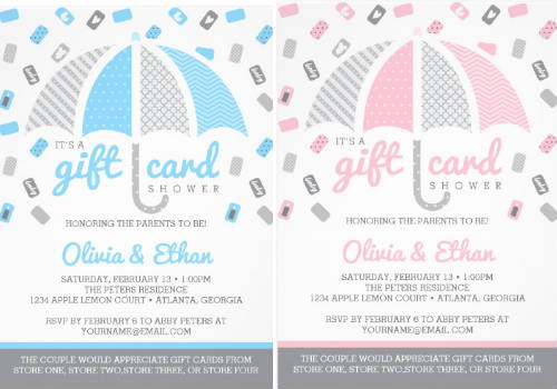 GIft card only baby shower invitations | how to throw a gift card baby shower