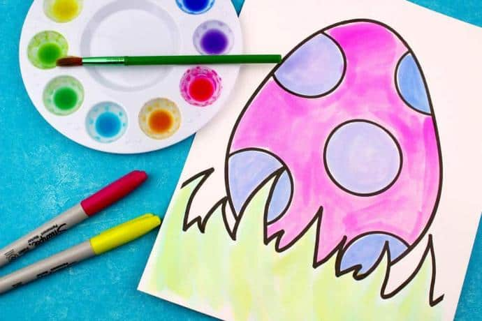 Simple Easter Watercolor Craft Using Sharpies