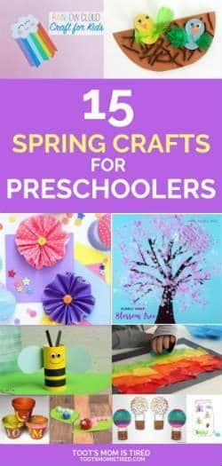 15 Spring Crafts for Preschoolers | Crafts for kids featuring flowers, trees, rainbows, bees, rain clouds and more. 3 year olds and 4 year olds will love these crafts for spring. #springcrafts #preschoolcrafts #kidsactivities