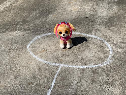 Rescue a toy at the end of your sidewalk chalk obstacle course