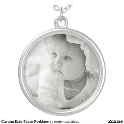 Custom baby photo necklace for grandma