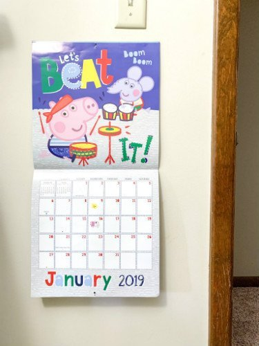 Peppa Pig Calendar with a sticker on the day we started potty training