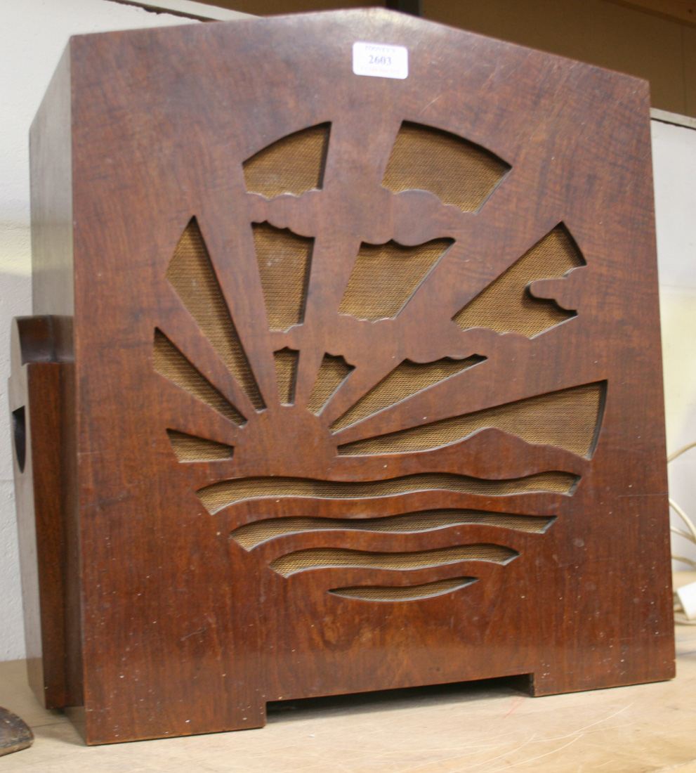 An Art Deco radio by Pye the speaker with pierced