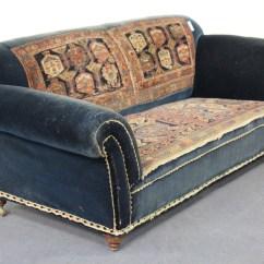 Victorian Scroll Arm Sofa Sleeper Modern Design A Walnut Framed With Blue