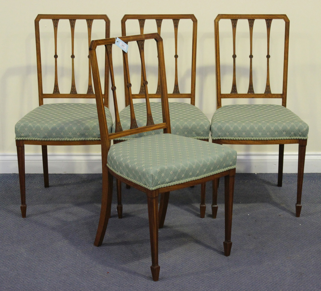 green upholstered dining chairs smallest electric chair a set of four edwardian satinwood spindle back