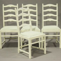 White Ladder Back Chairs Coleman Folding Chair With Side Table A Set Of Four Painted Ercol On
