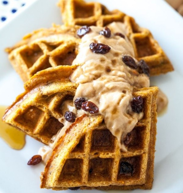 Carrot Cake Waffles with Cinnamon Maple Cream Cheese