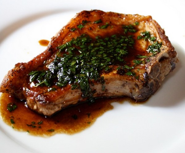 Pork Chops with Mint Julep Glaze