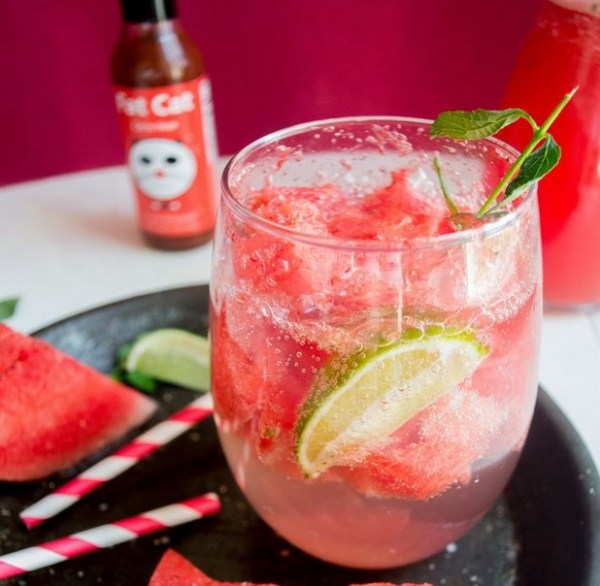 Grilled Watermelon-Tequila Cocktail