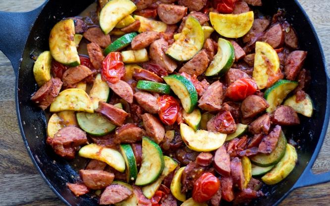 Smoked Sausage and Zucchini Skillets
