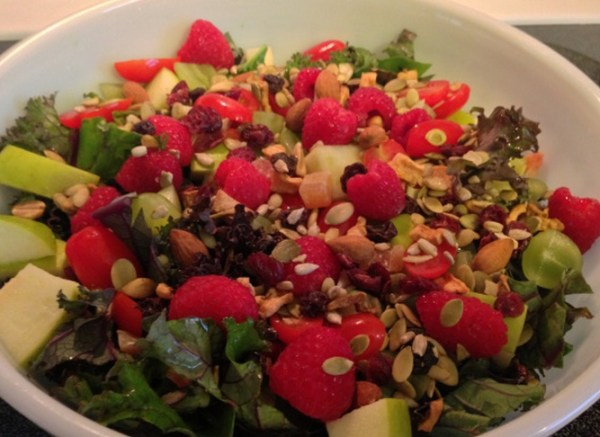 Kale Fruit Seed and Nut Salad