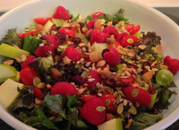 Kale Fruit Seed and Nut Salad