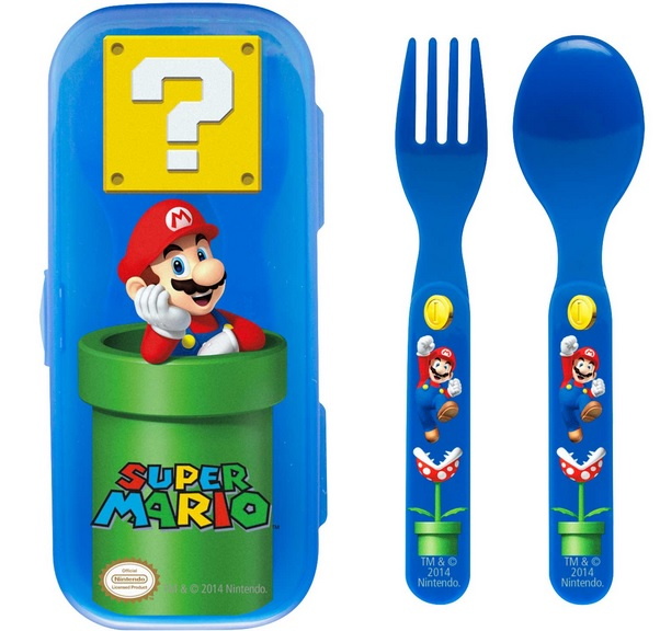 Super Mario Travel Case Fork and Spoon