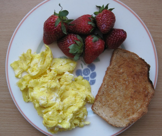 Strawberries With Scrambled Eggs & Toast
