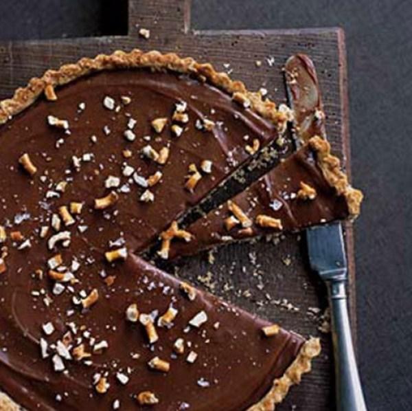 Milk-Chocolate Tart with Pretzel Crust