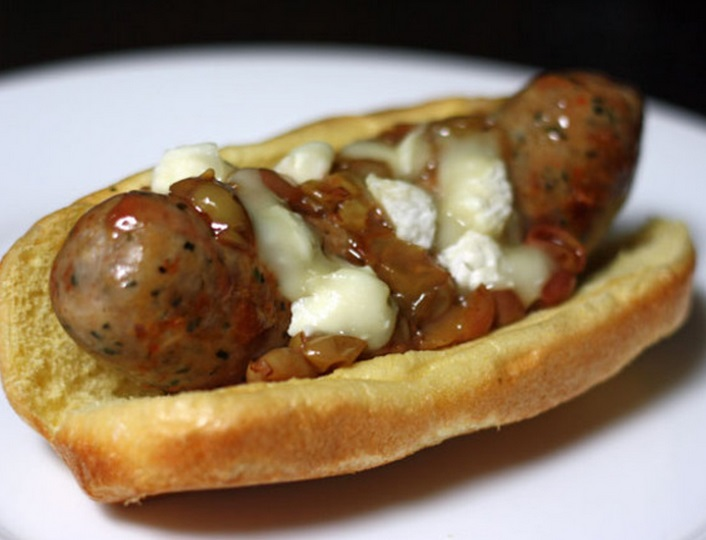 Italian Sausage Hotdogs With Milk Cheese and Grapes