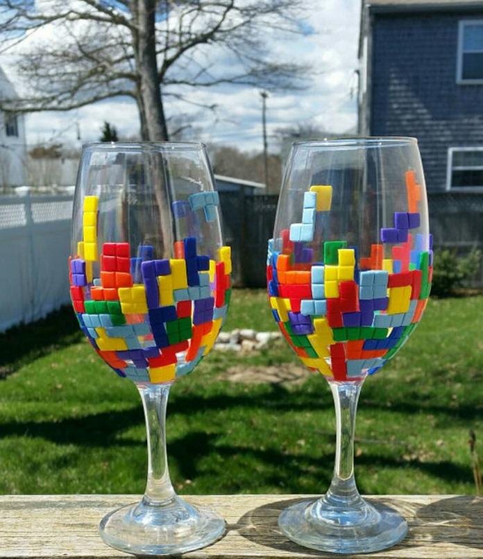 Tetris Wine Glasses