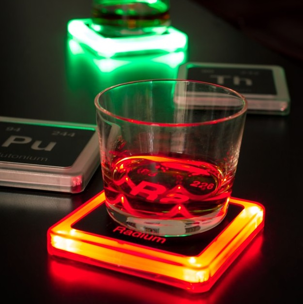 Glowing Radioactive Elements Drink Coasters