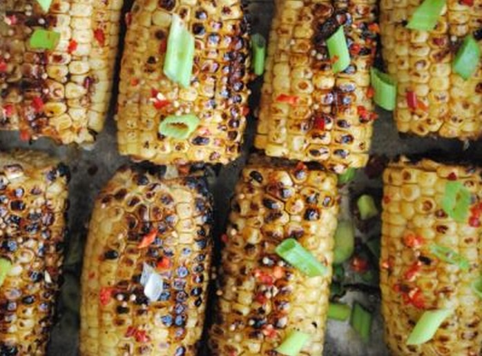 Spicy Hoisin and Sesame Glazed Corn On The Cob