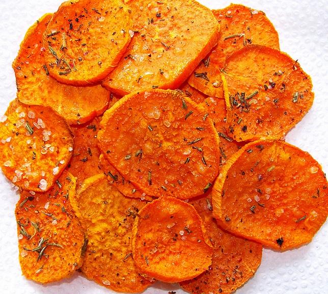 Homemade Black Pepper and Rosemary Sweet Potato Crisps