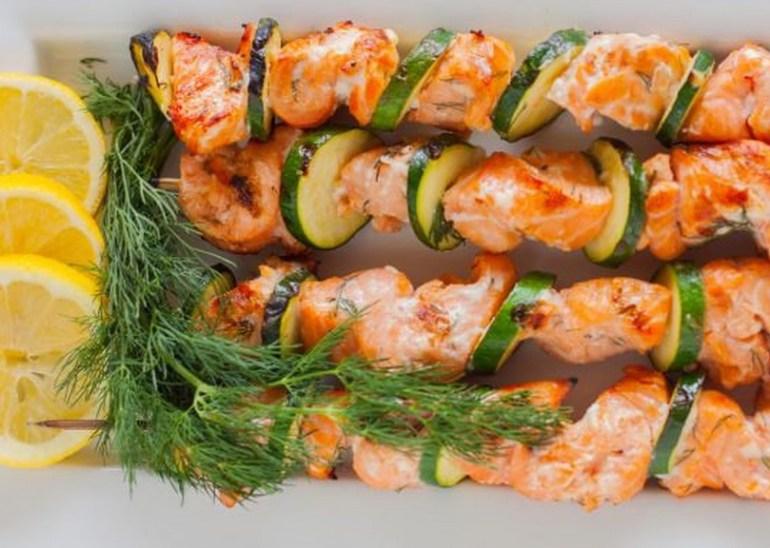 Barbecue Lemon and Salmon Kabobs