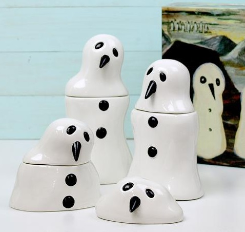 Melting Snowman Tea, Coffee And Sugar Sets