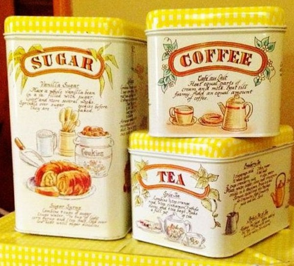 1950's Tin Canister Set Tea, Coffee And Sugar Sets