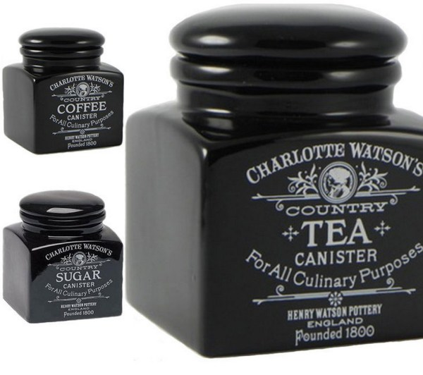 Charlotte Watson Black Wooded Tea, Coffee And Sugar Sets