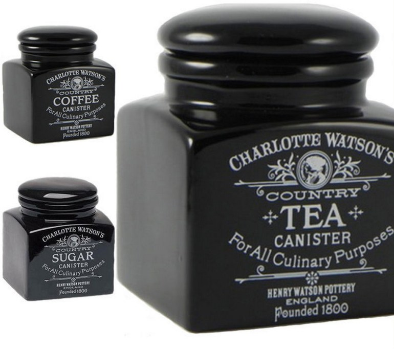 Charlotte Watson Black Wooded Tea, Coffee And Sugar Sets