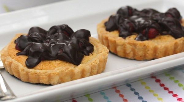 Chocolate Covered Cherry & Almond Tarts