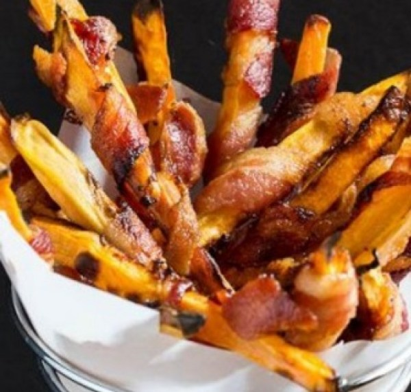 Bacon Wrapped Sweet Potato Fries