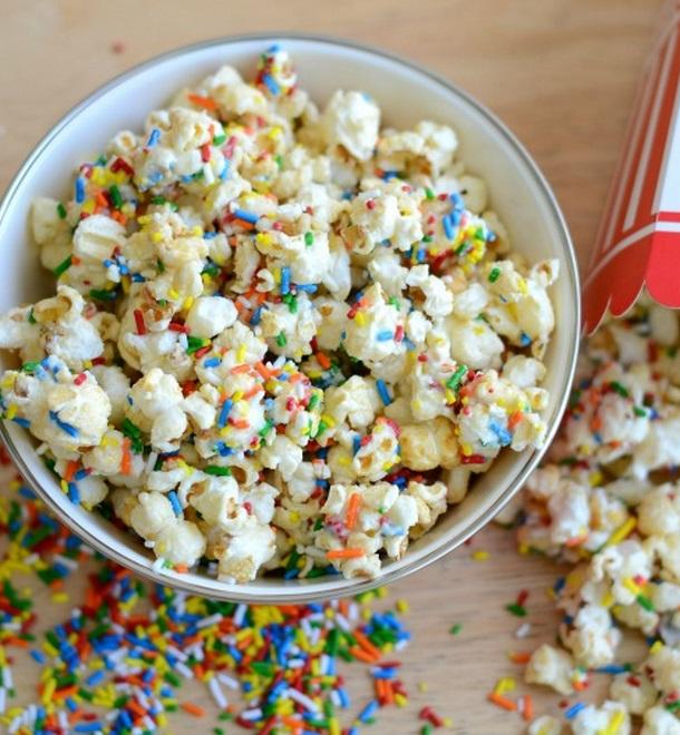 Homemade Birthday Cake Funfetti Popcorn