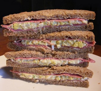 Pastrami and Cheesy Egg Sandwich