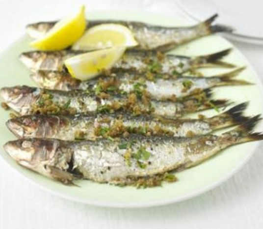 Sardines with crisp paprika crumbs