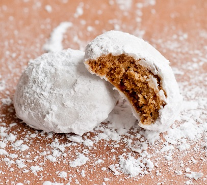 Chai Spiced Snowball Pfeffernuess Christmas cookies
