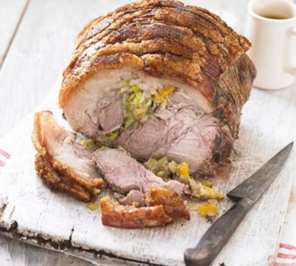 Leeks, Apricots & Thyme Stuffed Roast Pork