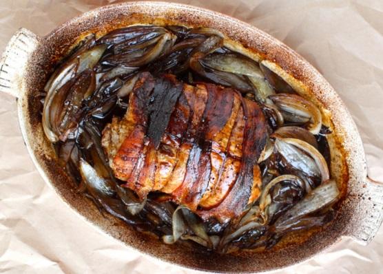 Roast Pork with Caramelised Onions