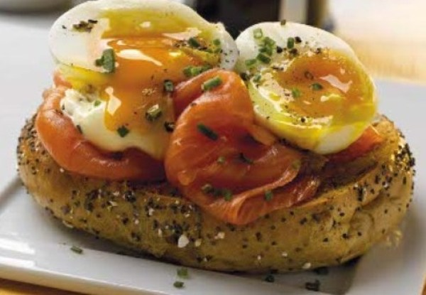 Bagel and Lox With Soft Boiled Eggs
