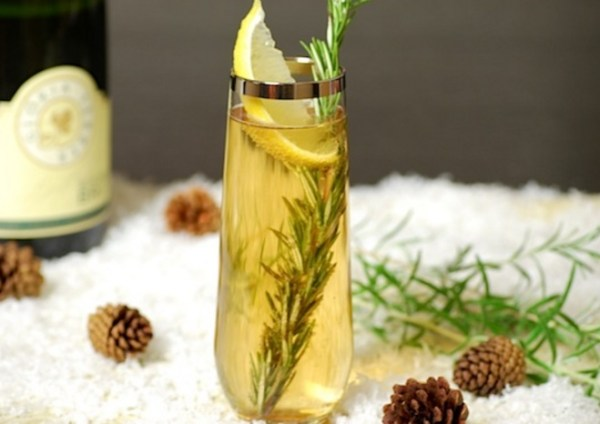 Rosemary Sparkler and Wine Cocktail