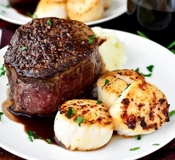 Surf And Turf: Filet Mignon And Sea Scallops