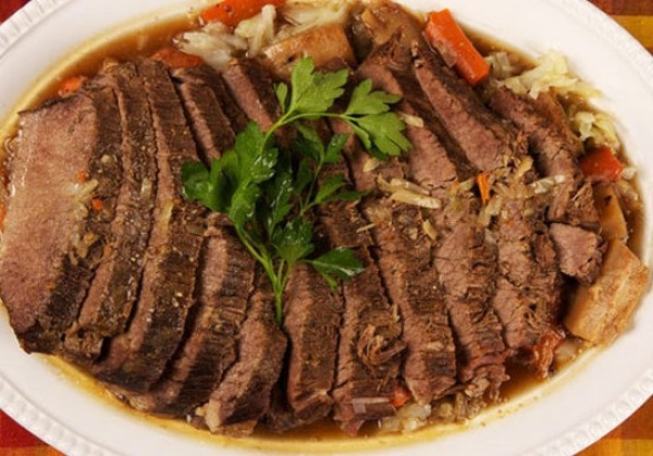 Beer-Braised Corned Beef and Cabbage