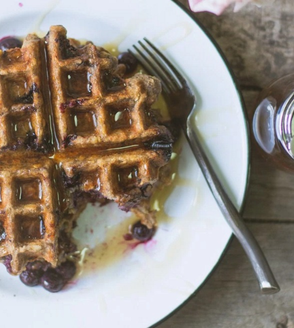Vegan Blueberry & Oatmeal Nut Waffles