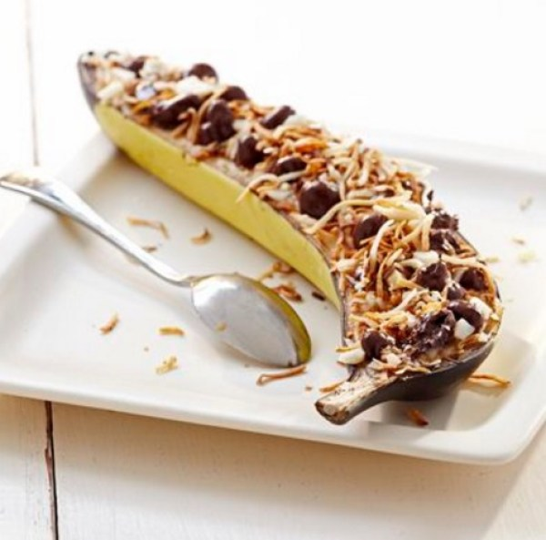 Chocolate Covered Raisin Banana Boats