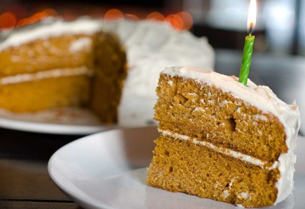 Pumpkin Cake with Amaretto Cream Cheese Frosting