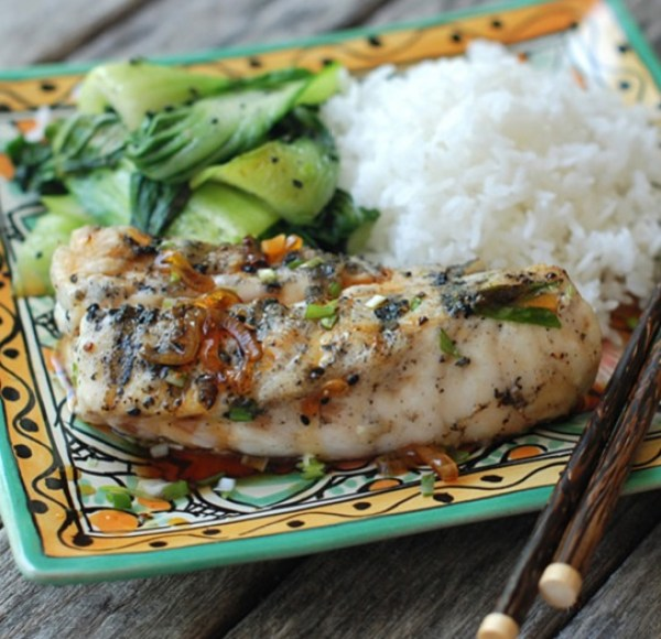 Grilled Bass with Savory Caramel Sauce
