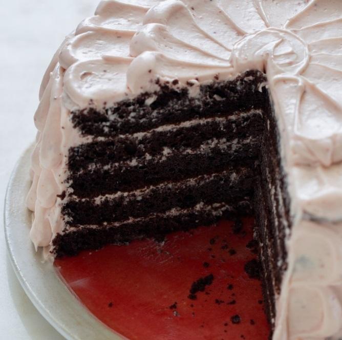 Strawberry Devil's Food Cake