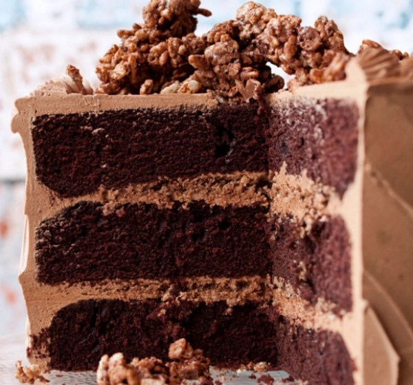 Hazelnut Crunch Devil's Food Cake