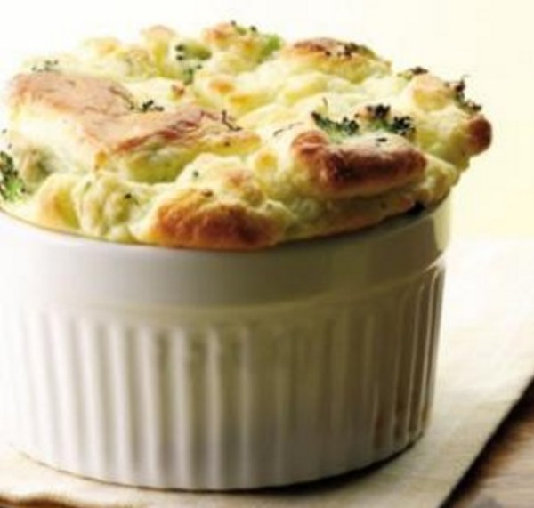 Broccoli & Goat Cheese Souffle