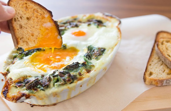 Baked Eggs in Creamed Spinach